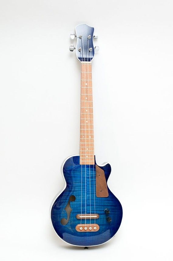 Les Paul style Tenor ukulele blue burst by celentanowoodworks #LardysUkuleleOfTheDay ~ #Tenor #Ukulele https://www.pinterest.com/lardyfatboy/lardys-ukulele-of-the-day/ ~ Everyone loves to pin Celentano Ukuleles especially the more exotic ones - I like them too but I've gone for conservative on my board