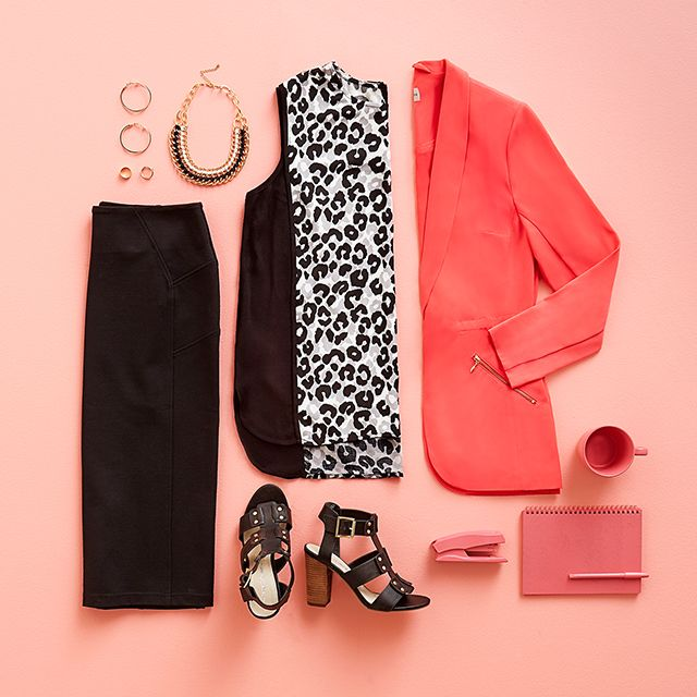 Animal print in the office?  Yes you can. #AnimalPrint #Workwear #WorkStyle #Flatlay