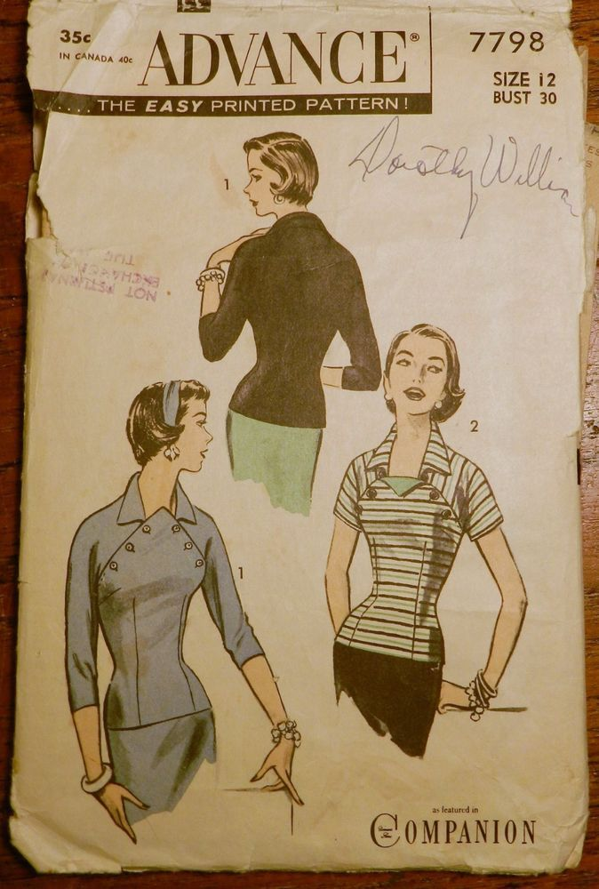 Vtg 1950s Advance 7798 Wiggle Button Flap Blouse Sewing PATTERN 12/30