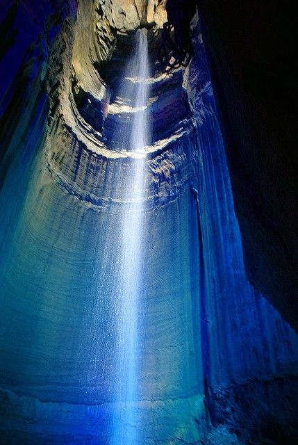 This underground cave waterfall is known as Ruby Falls, located in Chattanooga, TN. It is America's highest underground waterfall.