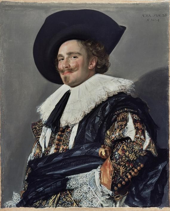 Frans Hals, 'The Laughing Cavalier'. He's the laughing cavalier, though he's neither laughing nor a cavalier. Self-satisfied, provocative and arrogant are common descriptions. His rich costume is embroidered with motifs symbolising the pains and pleasures of love, including arrows, flaming cornucopiae and tongues of fire. This could be a betrothal portrait. Despite the intricate patterns and varying textures of his clothing, Hals executed this Baroque masterpiece with quick brush strokes.