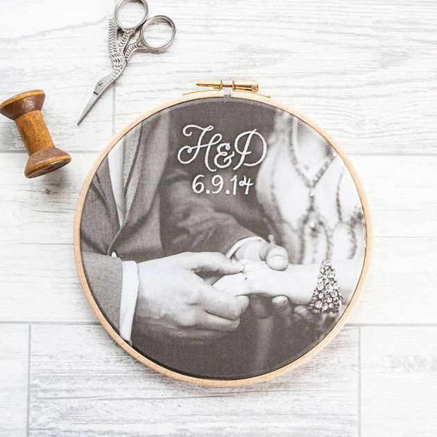 Embroidered Cotton Photo Hoop From House Of Whatnot 2nd Wedding Anniversary Gift Idea Cotton Anniversary Gifts Cotton Gifts 2nd Wedding Anniversary Gift