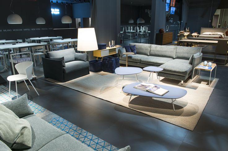 URBAN SOFA sofa bed / SOAP pouf / TWEET coffee tables / ADAM TV unit / BIG WAVE floor light / FILO side table