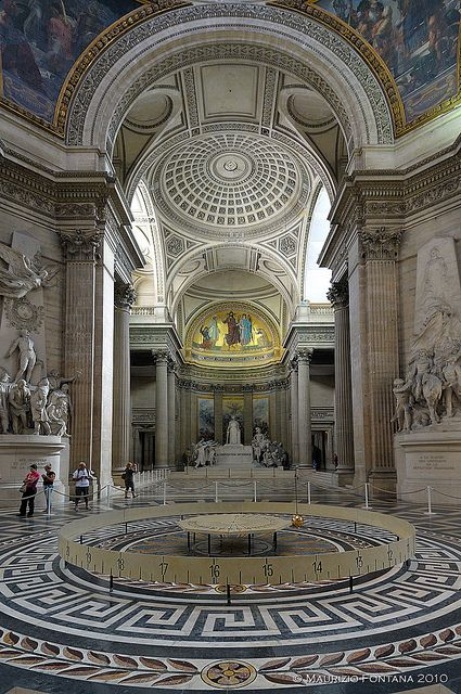 Pantheon, Paris, France - A mausoleum containing the remains of distinguished French citizens such as Marie Curie, Victor Hugo,  Voltaire, Rousseau, etc.