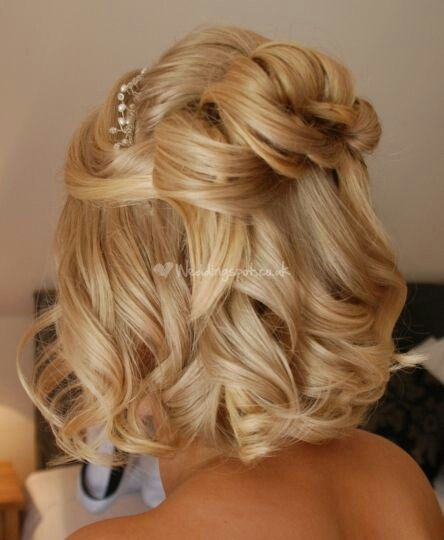 Wedding hair for short locks.. Not sure I want some down... Will be much longer by then!! ;)