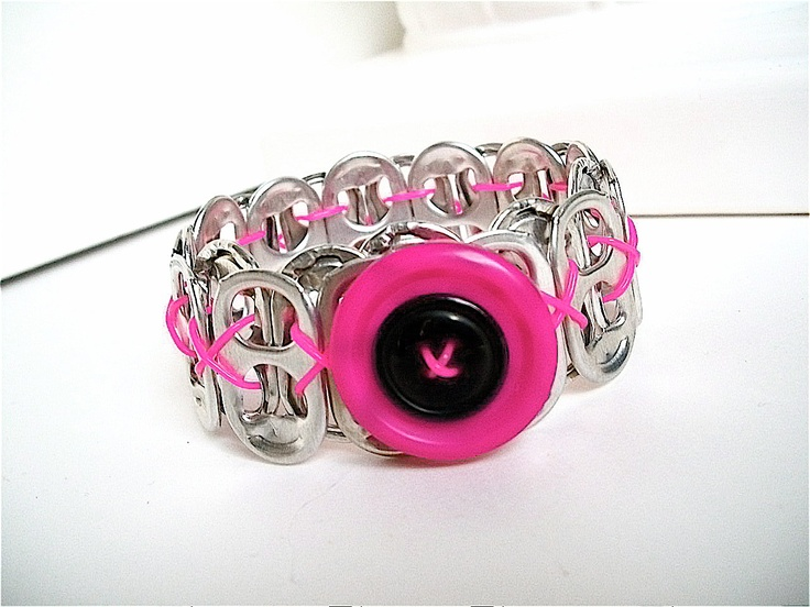 Button and Soda Tab Bracelet - Valentine's Day - Hot Pink and Black - for teens and women - upcycled/eco-friendly - gifts under 10.00. $8.00, via Etsy.