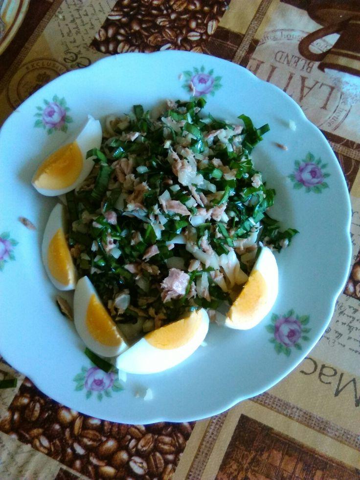 Medvědí česnek, malá cibule, tuňák s citronovou přichutí, vejce na tvrdo, těstoviny slim pasta fetucine