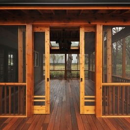Sliding style barn doors for gazebo we 39 d store the pontoon for Craftsman screened porch
