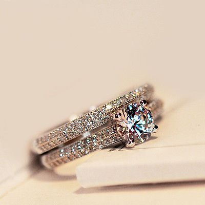 Silver Rose Gold Round CZ Wedding Band Engagement Ring Set Womens Size 4 9