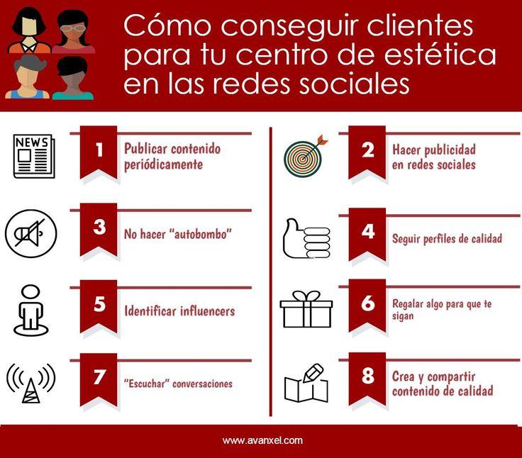 Cómo conseguir clientes para tu centro de estética en las redes sociales #RedesSociales #CentrosdeEstética #clientes http://www.avanxel.com/blog-de-aparatologia-estetica/175-como-conseguir-clientes-para-tu-centro-de-estetica-en-las-redes-sociales.html