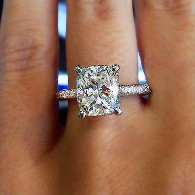 3.00 Carat GIA Certified Cushion Cut Diamond Engagement Ring 18K White Gold