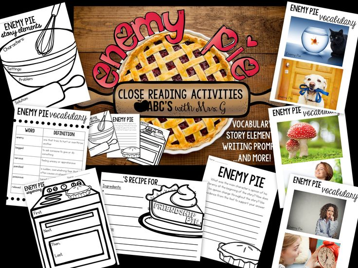 Enemy Pie Activities - Story Elements, Vocabulary, Text Dependent Questions & Writing Prompt!