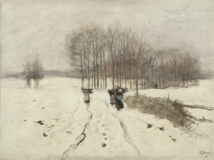 Anthonij 'Anton' Mauve (Zaandam 1838-1888 Arnhem) Sneeuwlandschap bij Laren - Kunsthandel Simonis en Buunk, Ede (Nederland).