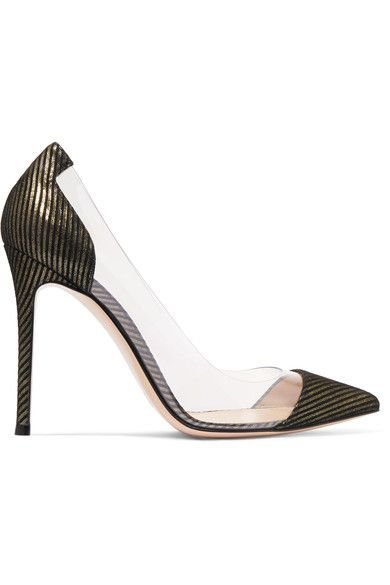 Gianvito Rossi | Metallic-striped suede and PVC pumps | NET-A-PORTER.COM