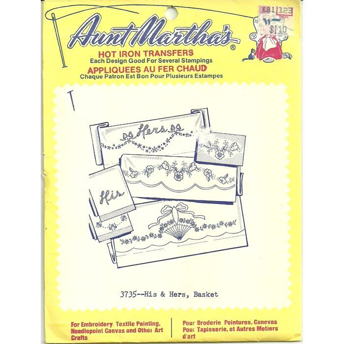 Aunt Martha's Hot Iron Transfers 3735 His & Hers, Basket Colonial Patterns Uncut Listing in the Fabric Transfers,Fabric Painting & Decorating,Crafts, Handmade & Sewing Category on eBid Canada | 156349926 CAN$5.00 + Shipping