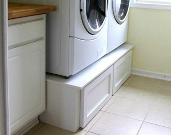 praktischer wäschekorb holz-unterschrank mit schubladen