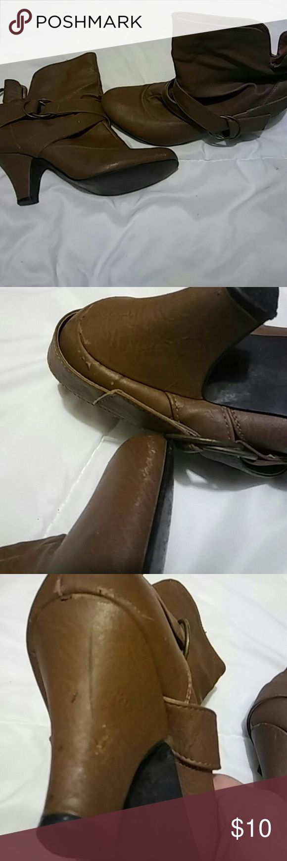 🔹Charlotte Russe | Brown Heel Booties Great condition Charlotte Russe heel booties size 9. Minor scuffs as pictured. Charlotte Russe Shoes Ankle Boots & Booties