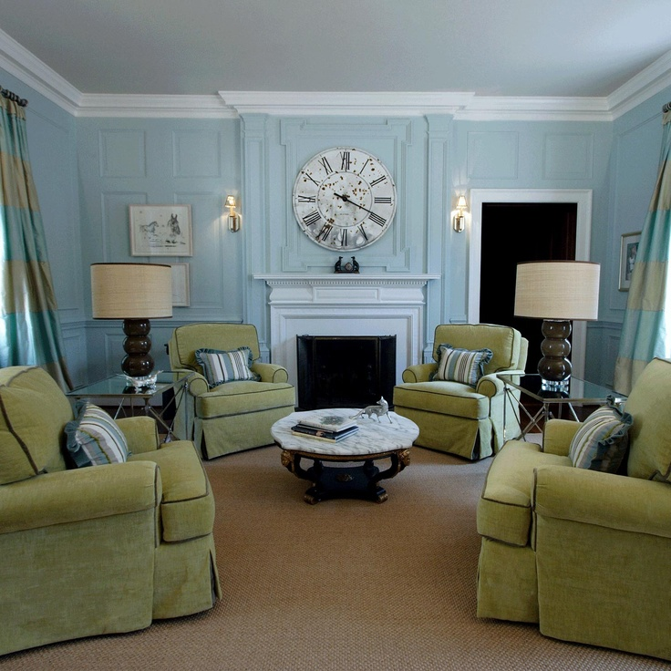 Turquoise and antique green: Dining Room, Living Rooms, Beach House, Beach Cottages, Clock, Wall Color, Blue Chairs, Green Rooms