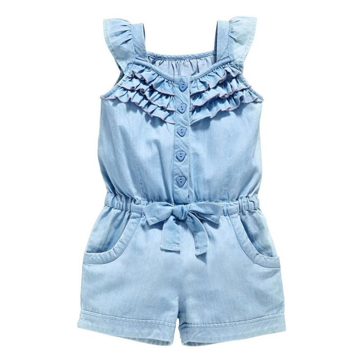 Kids Girls Clothing Rompers Denim Blue Cotton Washed Jeans Sleeveless Bow Jumpsuit 0-5Y L07