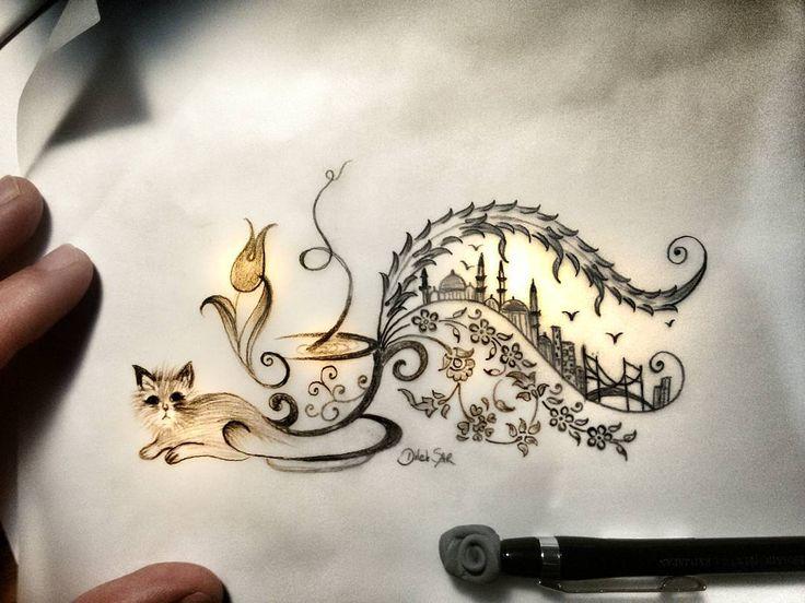 """""""""""Ben""""ce İSTANBUL ya sizce? #istanbul #tezhip #aşk #mydesign #tasarım #cats #kedi #kahve #turkishcoffee #sketchbook #sketch #dilekşar"""""""