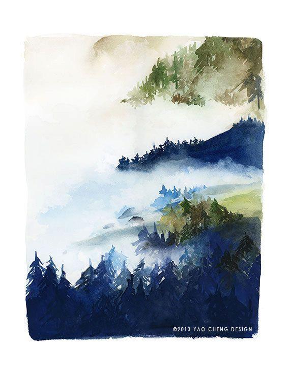 Foresta in indaco e verde acquarello stampa di YaoChengDesign, $25.00