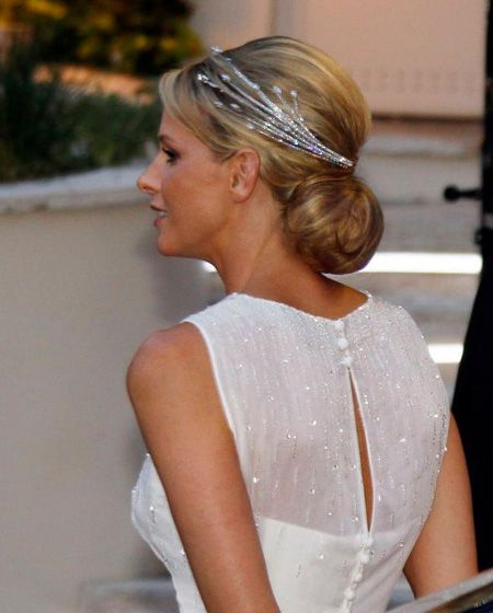 Princess Charlene of Monaco wearing the Diamond Foam Tiara