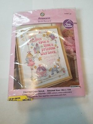 "NEW! Bucilla Princess Birth Record Counted Cross Stitch Kit, 10"" x 13"", WM45328"