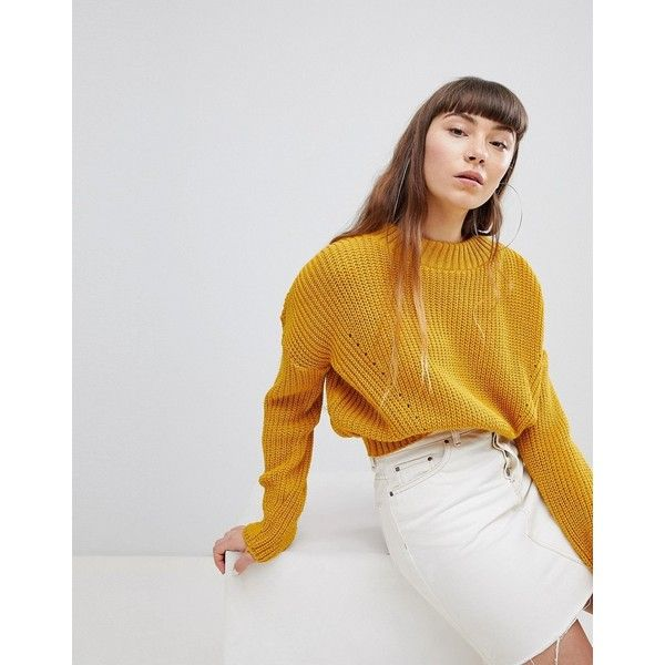 Daisy Street High Neck Jumper With Cable Knit ($34) ❤ liked on Polyvore featuring tops, sweaters, yellow, cable sweaters, cropped jumper, drop shoulder sweater, yellow top and high neck sweater