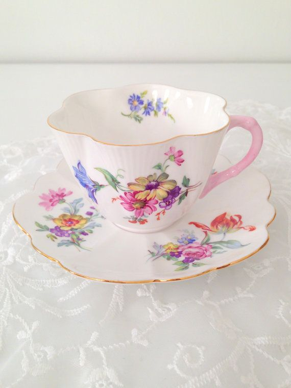 Antique Shelley English Fine Bone China Dainty Shape German Floral Pattern Teacup and Saucer Wedding Gift Inspiration - c. 1940 - 1966