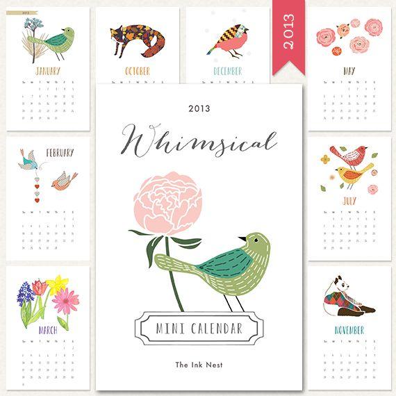 Whimsical Mini Calendar 2013 Freebie!