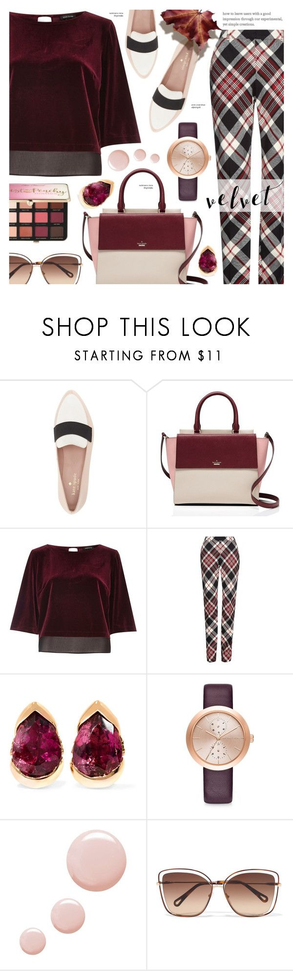 """""""Velvet trend - Work wear"""" by cly88 ❤ liked on Polyvore featuring Kate Spade, River Island, Alexander McQueen, Fernando Jorge, Michael Kors, Topshop, Chloé and Sephora Collection"""