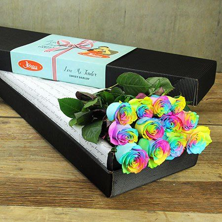"""Buy """"12 Long Stem Rainbow Roses"""" for $109.95. Ssshhhh...this Packaging And Price Is Exclusive To Sydney Metro Flower Delivery Only!"""