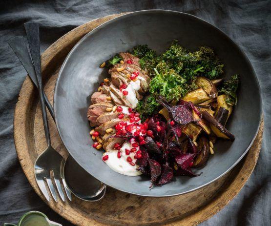 Warm roasted eggplant, beet and lamb salad with spiced yoghurt dressing by Nadia Lim | NadiaLim.com