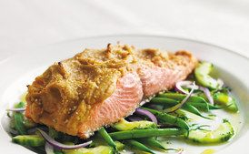 Hummus-Crusted Alaskan Wild King Salmon Over a Bed of French Beans, Red Onion, and Cucumber Salad with Lemon Oil