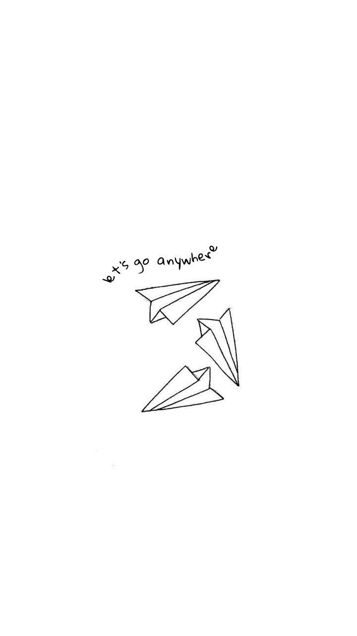 171 Let S Go Anywhere 187 Paper Plane Wallpaper Lockscreen White