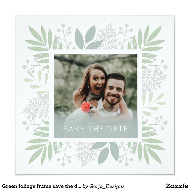 Green foliage frame save the date card | photo card | wedding card | invitation card | wedding invite | Zazzle invitations