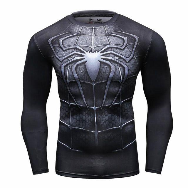 Nuevo 2016 Moda Hombre Camiseta Marvel Superhero Spiderman T Shirt Hombres Gimnasio tee Camisa De Compresión Medias