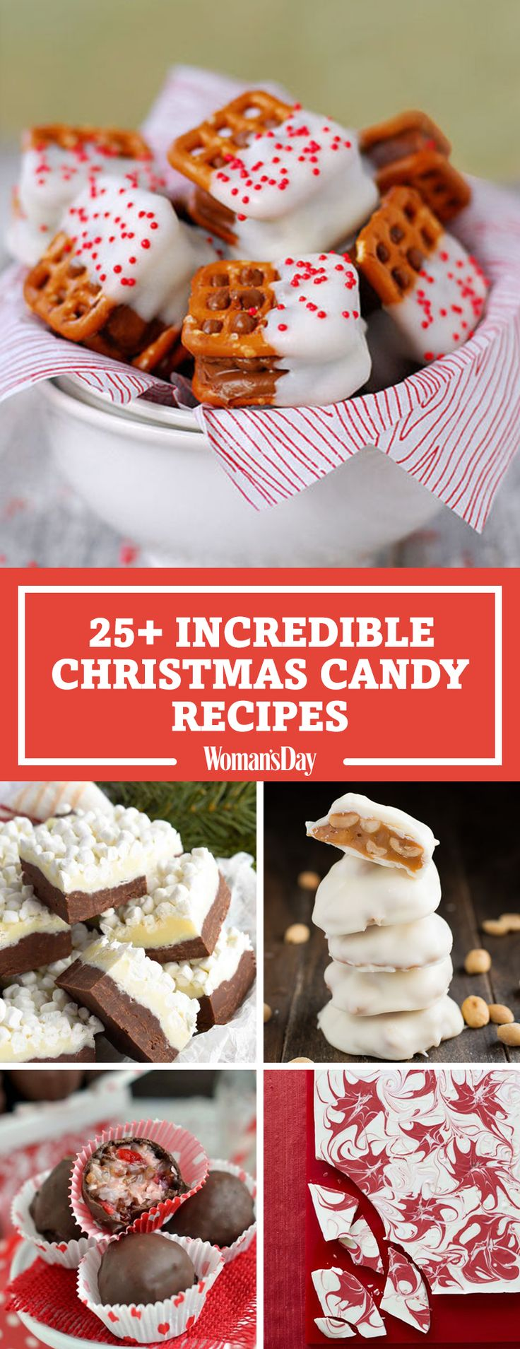 These festive Christmas candy sweets will get everyone in the holiday spirit. Make these incredible Christmas candies for holiday party favors. Your guests will love munching on Candy Bar Pretzel Bites after they eat a delicious Christmas dinner!