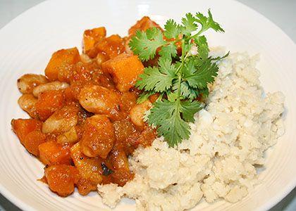 Butter Bean Curry with Cashews & Cauliflower Rice
