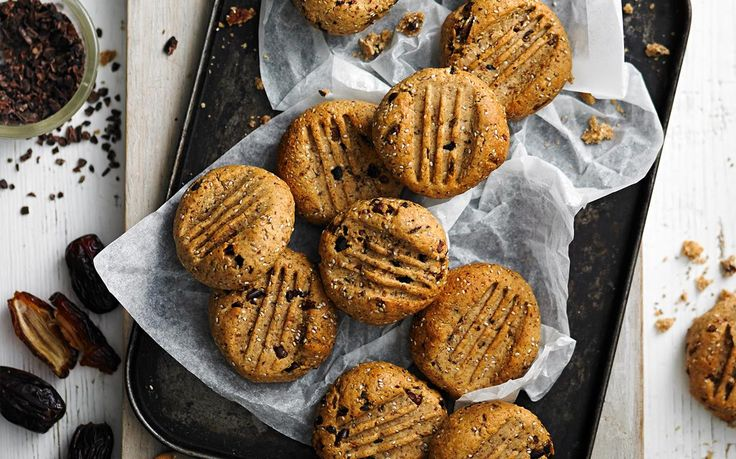Sugar-free cacao and hazelnut cookies recipe - By Australian Women's Weekly, With chia seeds for extra protein and crunch, these healthy cookies won't disappoint when it comes to flavour.