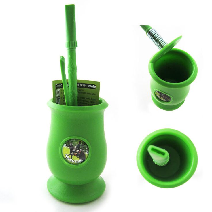 Argentina Mate Gourd Yerba Plastic Tea Cup with Straw Bombilla Kit Gift 9334 Gre | eBay