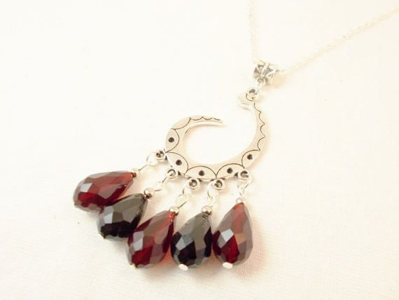 Black red crystal silver gothic cascade by 10dollarjewellery