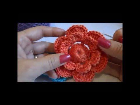 Artesanato crochê   Aprenda a fazer uma flor em crochê