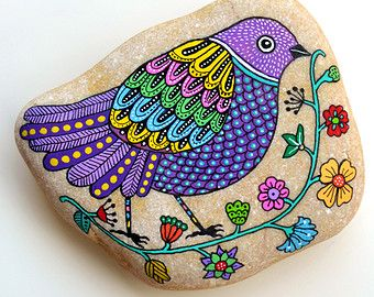 Hand Painted Stone Bird