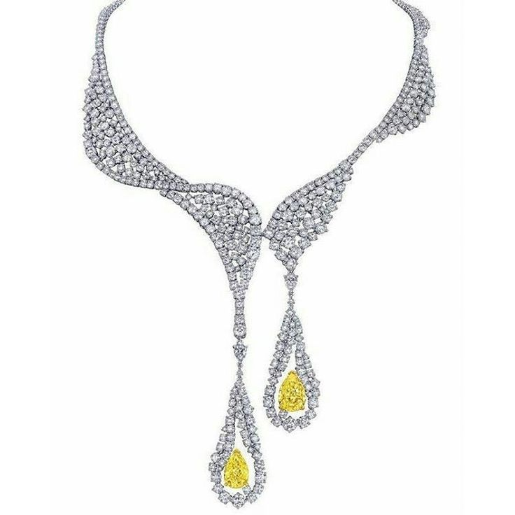 Repost @diamondgirl1975  The Cascade necklace by Larry Jewelry, is delicately handcrafted with 18K white gold and brilliant round diamonds and 2 pear shaped yellow diamonds.