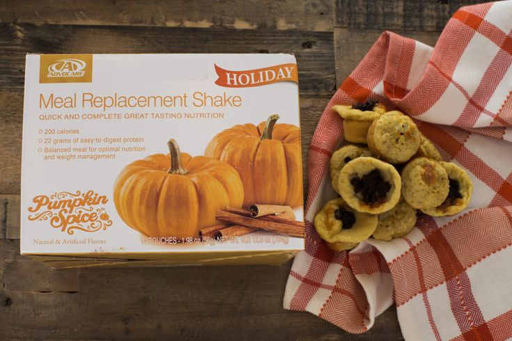 Pumpkin Spice Muffins Combine 1 AdvoCare Pumpkin Spice Meal Replacement Shake, 1 egg, 1 egg white, 1/2 tsp baking powder and a dash of cinnamon. Bake in a greased mini muffin tin for 11-12 minutes at 325. Optional: top with mini chocolate chips.