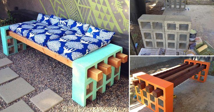 C mo hacer un banco con bloques de cemento y listones de - Como hacer un banco de madera ...