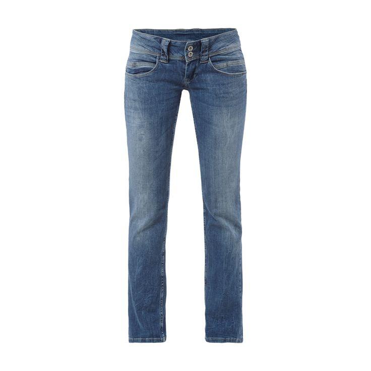 Pepe Jeans Regular Fit Stone Washed Jeans für Damen - Damen Jeans von Pepe Jeans, Denim, Stone Washed, Regular Fit, Straight Leg, Low Waist, 2-Knopf- und Reißverschluss, Zwei Eingrifftaschen, zwei Münztaschen, Vier Gesäßtaschen, Label-Patch, Innenbeinlänge bei Größe 27/32: 75 cm, Bundweite bei Größe 27/32: 80 cm