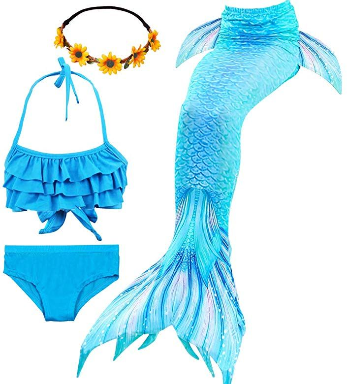 Mermaid Tail with Monofin for Swimming Mermaid Costume Child for Girls swimsuit