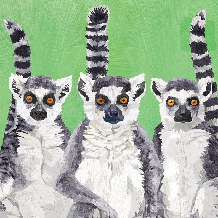Lemur Amigos Napkin 33x33 cm #ppd #paperproductsdesign #lemur #lemuren #animals #tiere #tropical #tropisch #design #designer #twocanart #napkin #serviette